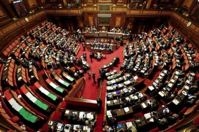 L'aula del Senato italiano.